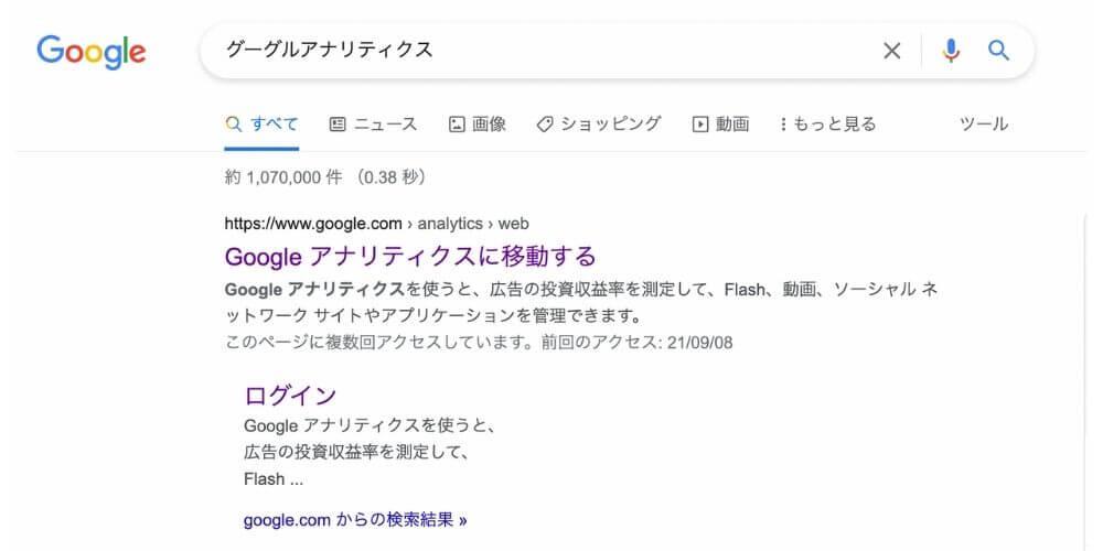 グーグルアナリティクスの検索結果